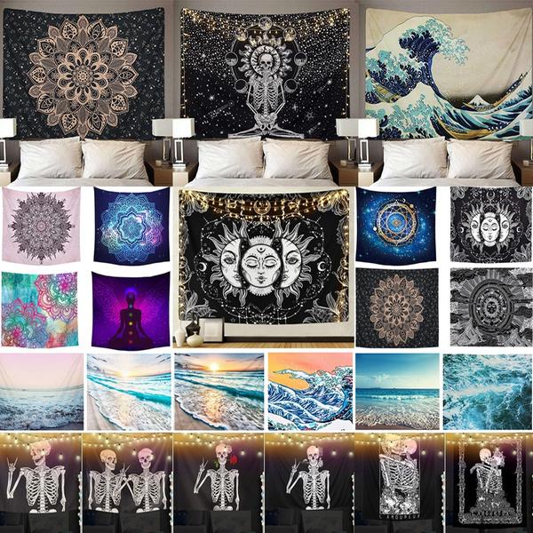 Polyester, Wall Art, mandalatapestry, skull
