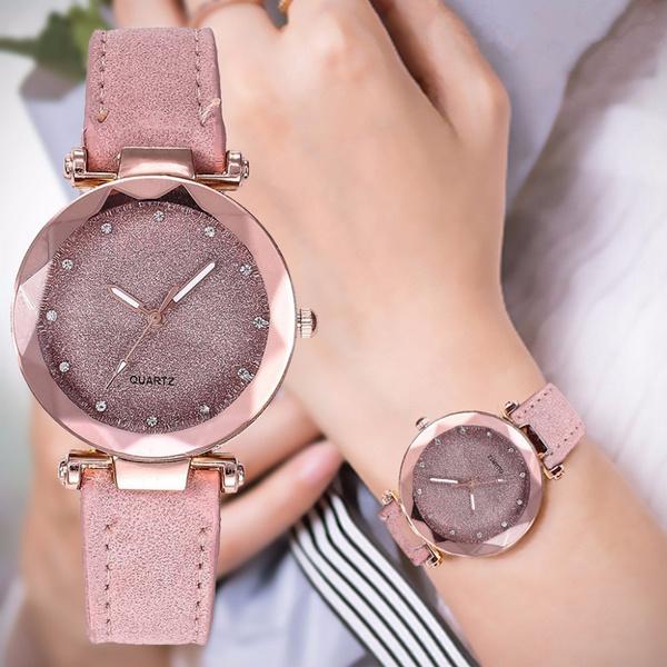 leatherstrapwatch, rhinestonewatch, Simple, Watch