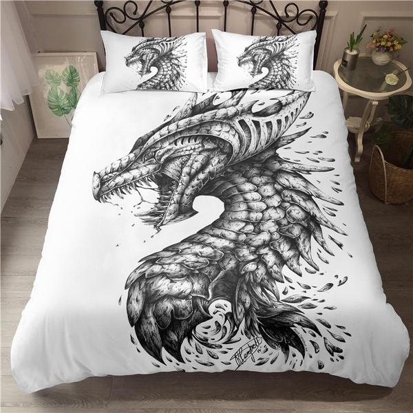 White Color 3d Dragon Bedding Sets, Dragon Bedding Sets Queen