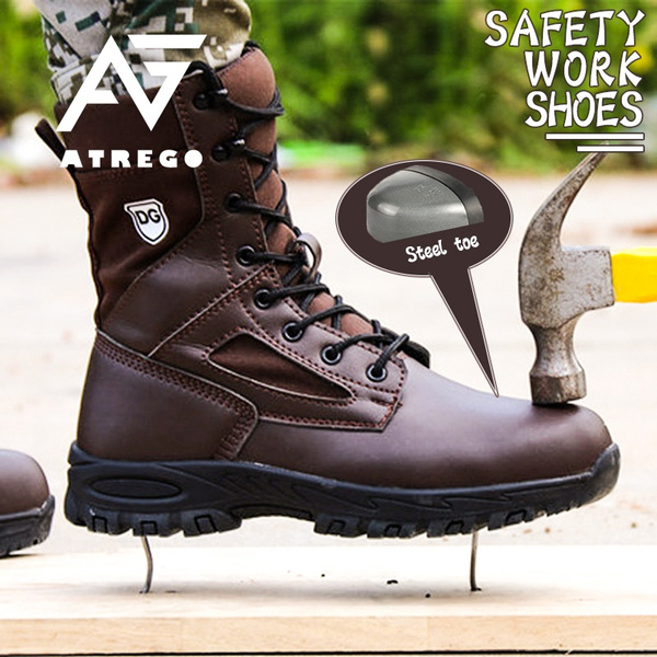 Men Leather Safety Steel Toe Military