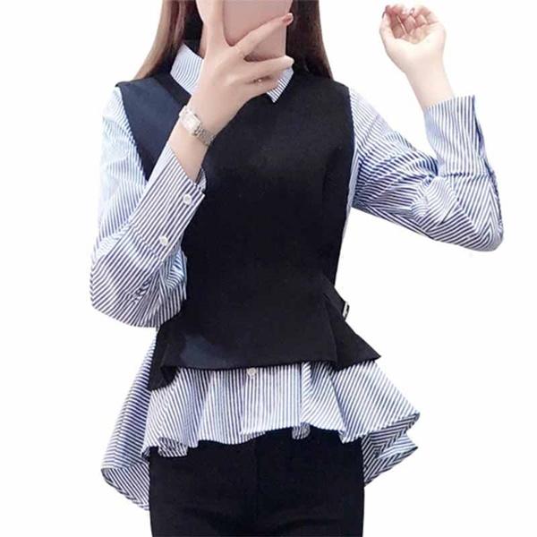 blouse, 2pieceset, Collar, topsamptshirt