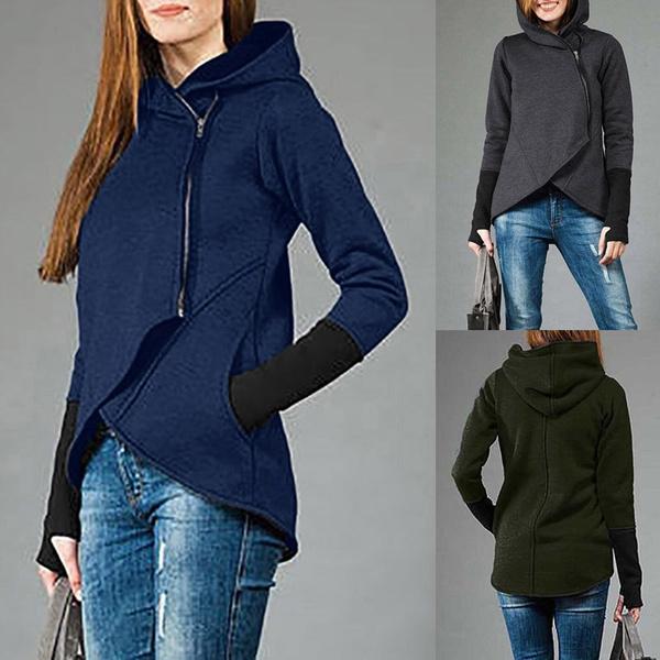 hooded, Hoodies, Zip, Long Coat