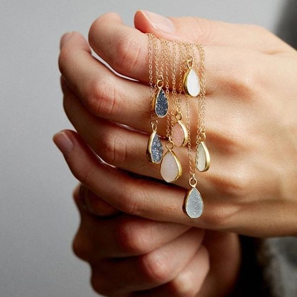 delicatenecklace, rawcrystalpendantnecklace, gemstonenecklace, Jewelry