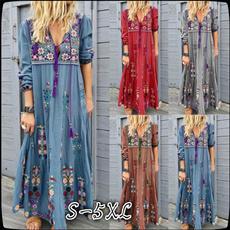 sleeve v-neck, Lace Dress, Floral print, high waist