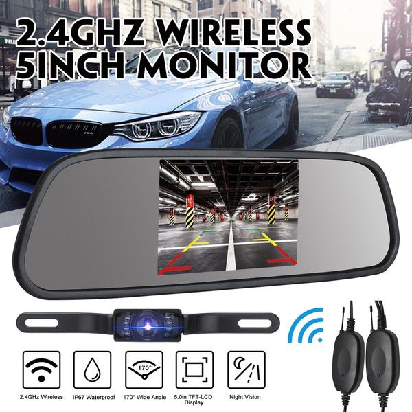 """5/"""" TFT LCD Car Rear View Backup Monitor+Wireless Parking Night Vision Camera Kit"""