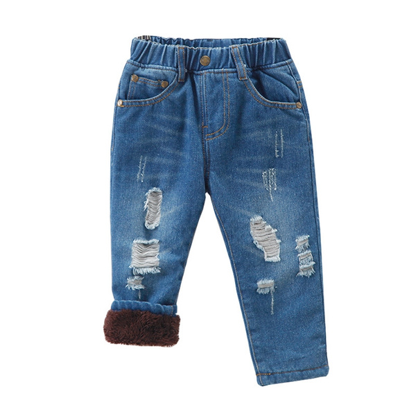 Kids Baby Boy Cute Denim Trousers Cotton Thicken Length Pants for Toddler Infant Winter Warm Jeans Clothes