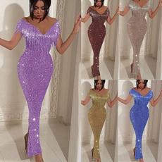 Deep V-Neck, Tassels, Fashion, long dress