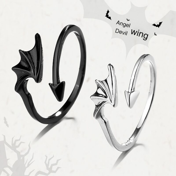 Dark Devil Silver Angel Wings Ring Matching Couple Rings 925 Sterling Silver Jewelry Adjustable Halloween Decoration Wish