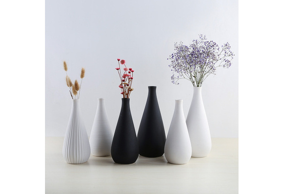 Modern Simple Ceramic Vase Tabletop Black White Dried Flowers Containers Home Decoration Gift Wedding Table Centerpieces Wish