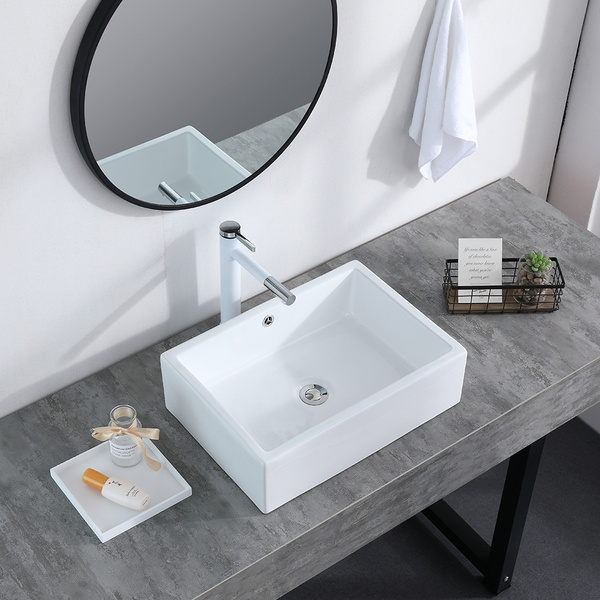 Bathroom Above Counter Ceramic Vessel Vanity Sink Art Basin White Porcelain With Pop Up Drain Stopper Wish