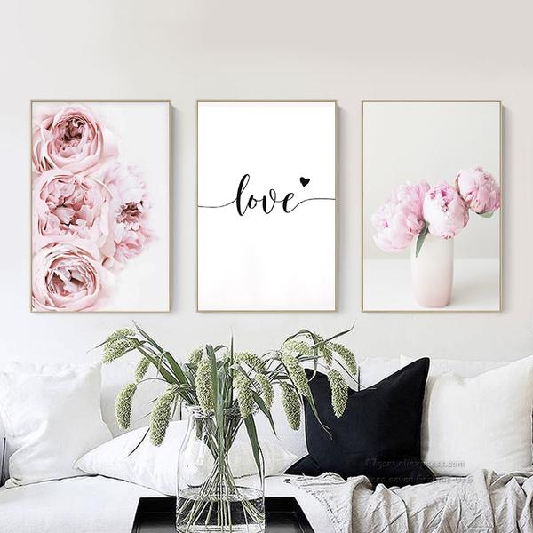 peonyflowerposter, pink, art, canvaspainting