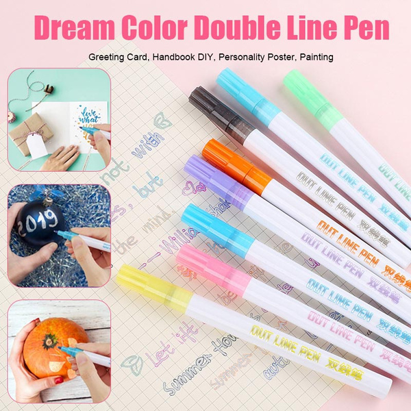 Painting JDiction Double Line Outline Pen 8 Colors//Set Double Line Glitter Marker Pen Writing Drawing Pens for Card Making,DIY Art Crafts