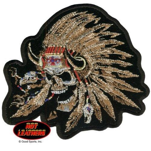 American, indianskullnativeamericanwarriorskull, embroideredirononsawonpatch5x4, hotleather