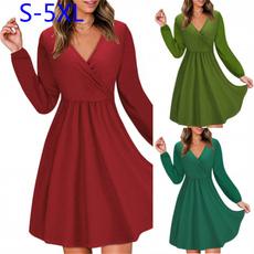 slim dress, Plus Size, longsleeveddresse, solidcolordres
