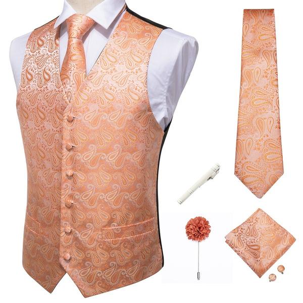 pink, necktie set, paisley, silvertieclip