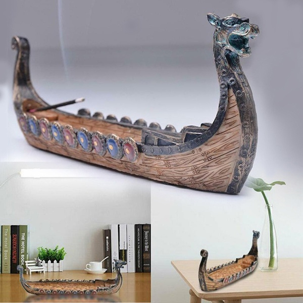 Traditional, Decor, dragonincensestickholder, vikingboat