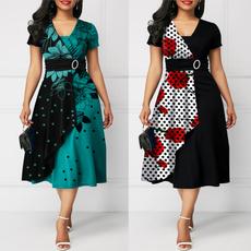 Swing dress, short sleeve dress, Floral print, Necks