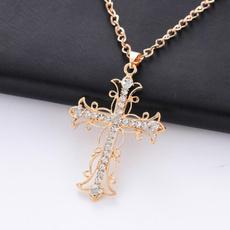 Women, Jewelry, Cross Pendant, Diamond Necklace