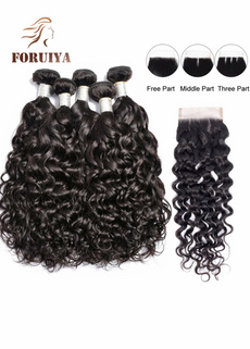 water, curlyhairextension, humanhairwithclosure, human hair