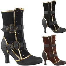 Goth, leatherbootsforwomen, steampunkboot, High Heel