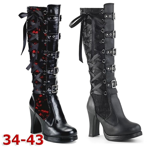 Women Cosplay Over The Knee Boots Leather Gothic Lolita Bows Lace Up High Combat Shoes High Heel Miuye yuren