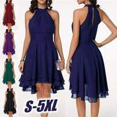 Sleeveless dress, knee, Plus Size, chiffon