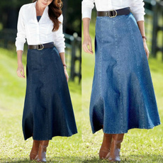 denim dress, washedskirt, long skirt, Fashion
