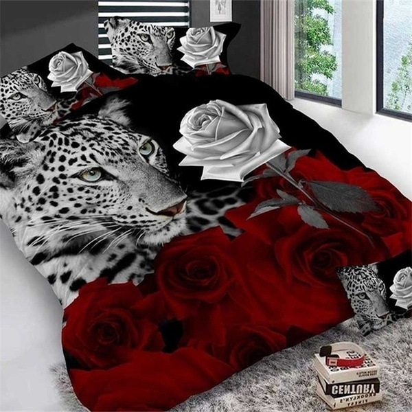 Leopard, Rose, Bedding, Cover