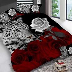 Leopard, Rose, Bedding, Cover