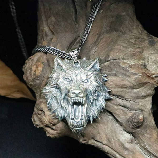 Head, wolfheadpendant, punk necklace, Stainless Steel