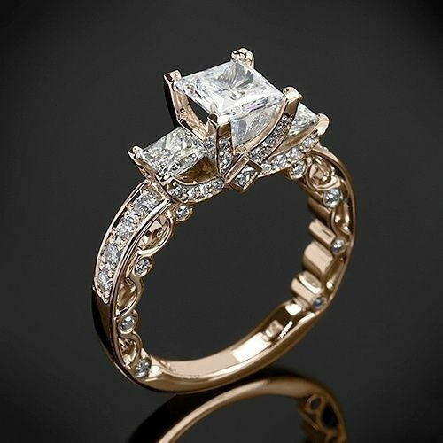 Sterling, DIAMOND, Princess, wedding ring