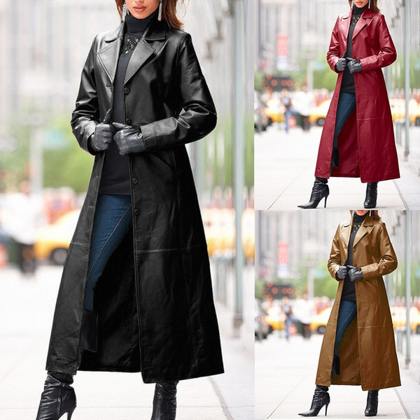 Leather Jacket Casual Loose, Fashionable Long Trench Coats