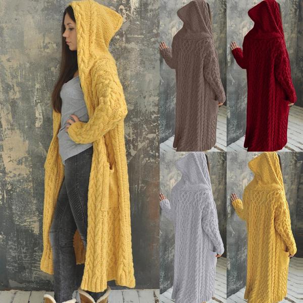Plus Size, solidcolorsweater, sweater coat, Long Sleeve