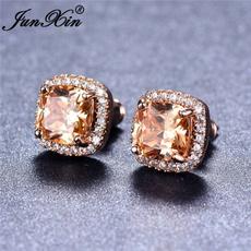 DIAMOND, Stud, topazearring, Stud Earring