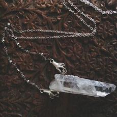 longchainpendantnecklace, quartzcrystal, Joias, wicca