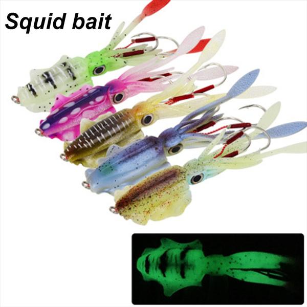 Glow Fishing Tackle Saltwater Octopus Bait hook Squid Skirt Lure long tail