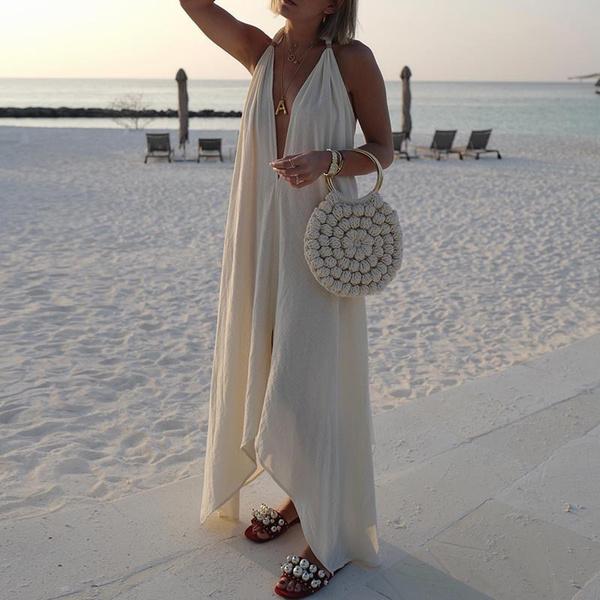 Deep V-Neck, Summer, Halter, long dress