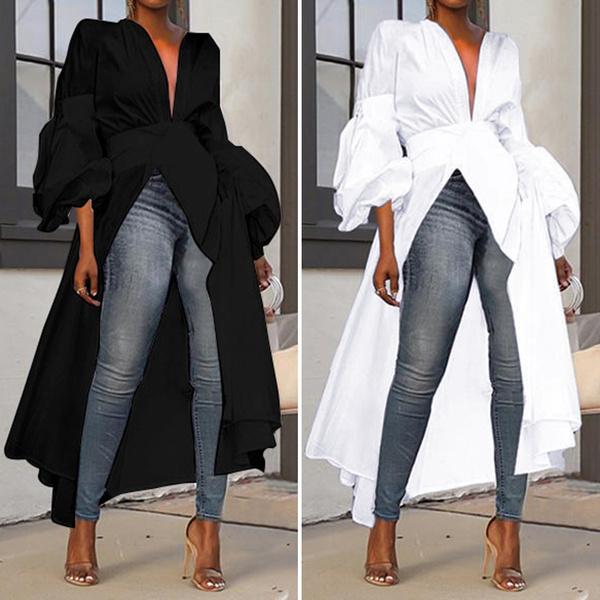 Plus Size, Long Sleeve, blusasfeminina, V-neck
