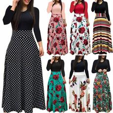 high waist, Plus Size, print dress, Sleeve