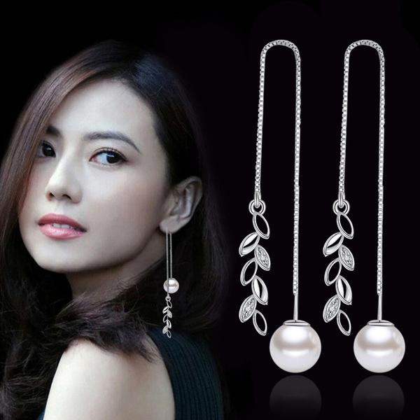 gracefulearring, longpendantearring, Jewelry, pearls