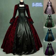 GOTHIC DRESS, Plus Size, Vintage Dresses, Cosplay Costume