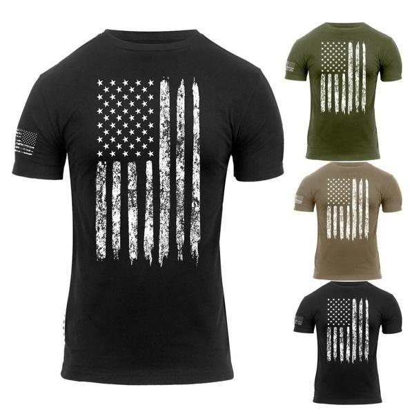 Huazi2 Mens American Flag Printing T-Shirt Muscle Build Tactical Tee