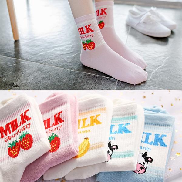 milksock, Cotton Socks, cute, korean style