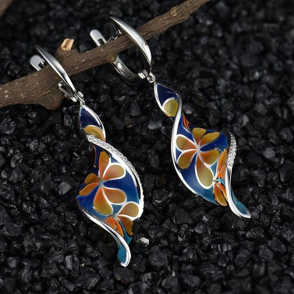 DIAMOND, 925 sterling silver, Gemstone Earrings, Colorful