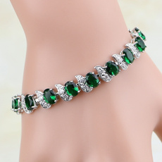 Charm Bracelet, Crystal Bracelet, Jewelry, Emerald