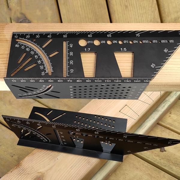 Multifunctional-Square 45//90 Degree Gauge Angle Ruler Measuring Charm Tools E6C6