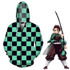 causalcoat, 3D hoodies, Fashion, plaidclothe