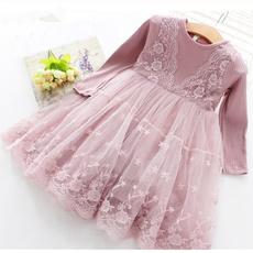 Lace, Long Sleeve, Dress, kidscasualdre