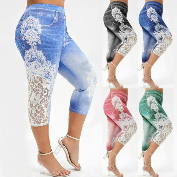 Leggings, trousers, fauxjeanlegging, Lace