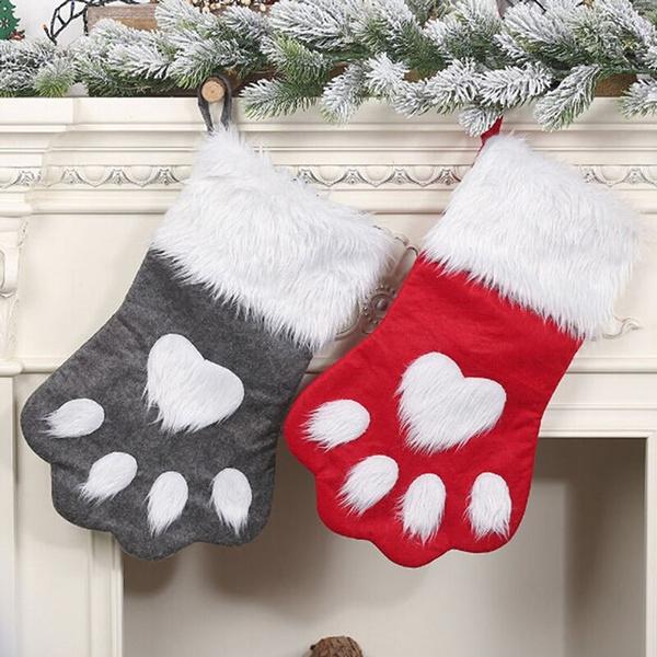 Pet Cat Dog Christmas Stocking Large Paw Stocking Gift Bag Xmas New Year Hanging